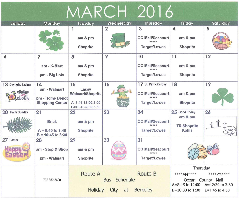Bus Schedule March 2016