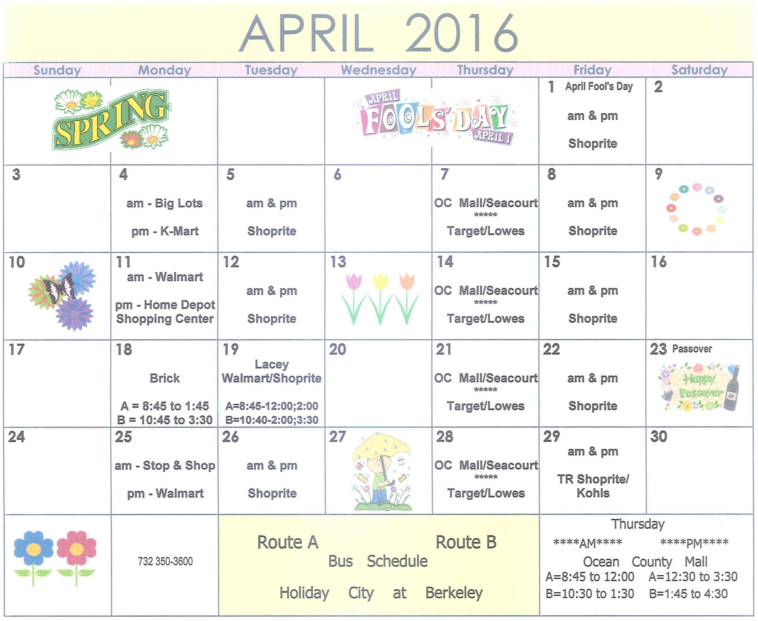 Bus Schedule April 2016