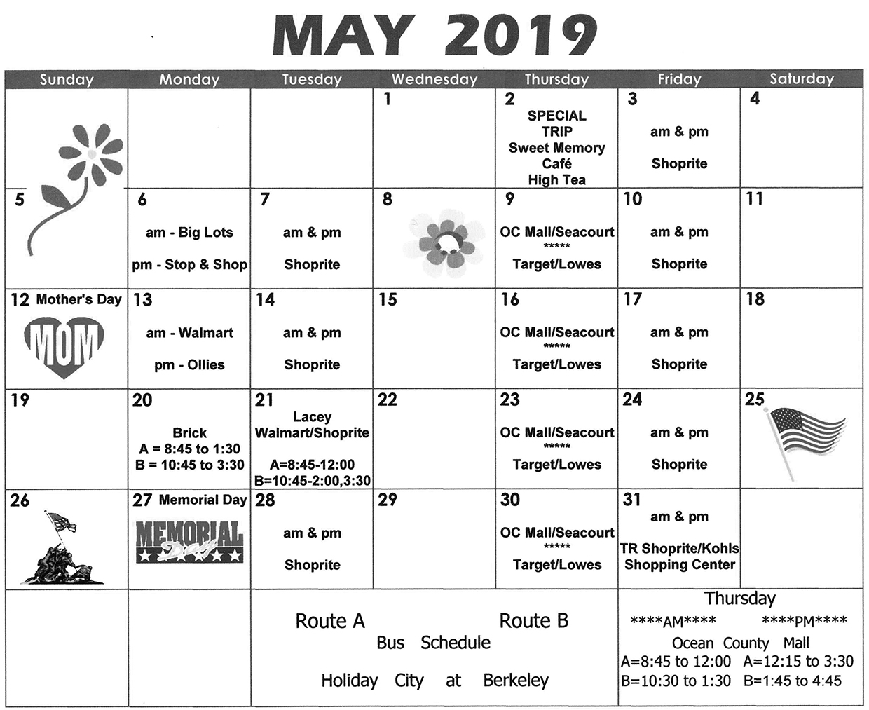 Bus Schedule - May 2019