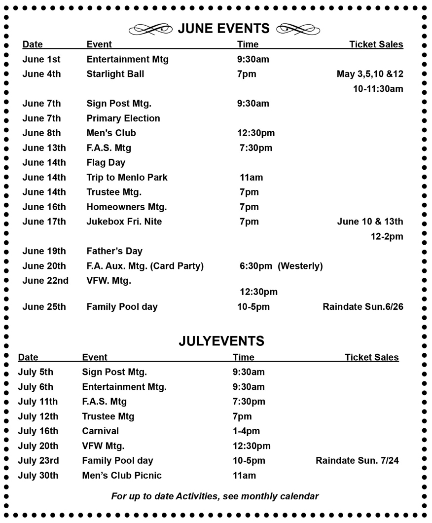 June Calendar Events : Events calendar june